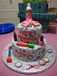 Pink 12th birthday cake in makeup and shopping themeJPG colorful