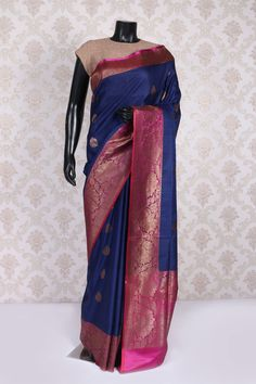 Navy #blue & antique gold banarasi silk #exquisite saree with #zari weaved pallu -SR10987