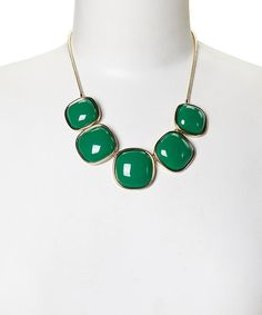 Take a look at the Gold & Teal Polished Bib Necklace on #zulily today!