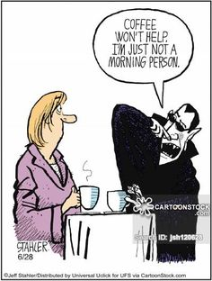"""Coffee won't help. I'm just not a morning person."" Editorial cartoon by Jeff Stahler"