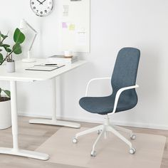 LÅNGFJÄLL Office chair with armrests - Gunnared blue, white .-LÅNGFJÄLL Office chair with armrests – Gunnared blue, white – IKEA - Upholstery Foam, Upholstery Cleaner, Seat Foam, Polypropylene Plastic, Conference Chairs, Ergonomic Office Chair, Curved Lines, Diy Chair, Powder Coating