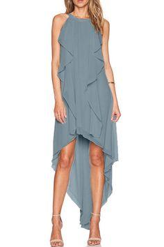 High Low Sleeveless Chiffon Dress