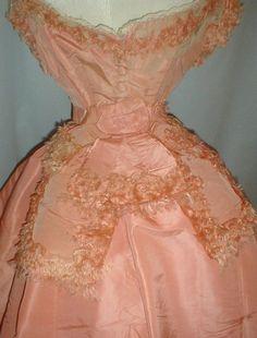 A glorious 1860 s three piece pink silk ball gown dress that has been de- 2d326b792
