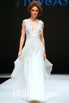 """Brides: Ivy & Aster - Fall 2015. """"Blue Ivy"""" sleeveless V-neck A-line wedding dress with lace bodice, Ivy & Aster"""