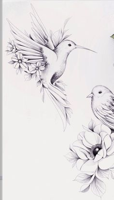 Flower Tattoo Drawings, Bird Drawings, Flower Tattoos, Mom Tattoos, Future Tattoos, Body Art Tattoos, Tatoos, Tattoo Sleeve Designs, Sleeve Tattoos