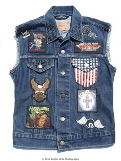 Women's vintage levi's rare metal/thrash/grunge patches sleeveless denim jacket. £45.00, via Etsy.