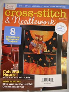 Cross Stitch & Needlework Magazine September 2012 Halloween Owl Spooky New