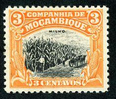 """Mozambique Company 1923 Scott 115 3c ocher & black """"Corn"""""""
