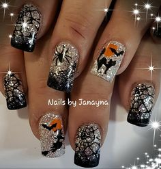 Halloween nails holiday nails, seasonal nails, get nails, fancy nails, halloween nail Holiday Nail Designs, Halloween Nail Designs, Holiday Nail Art, Fall Nail Art, Halloween Nail Art, Toe Nail Designs, Halloween Halloween, Nail Art Grey, Nail Art Orange