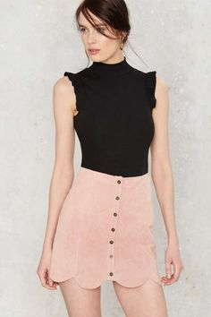 Cap It Ruffle Bodysuit A$63.00 I'm more interested in the skirt which looks like the Noah Suede Mini Skirt A$116.00 in a light pink colour, can't find it anywhere