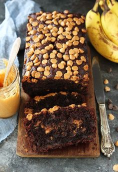 Chocolate Peanut Butter Banana Bread with a creamy peanut butter swirl and peanut butter chips