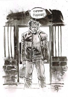 Day 17 - Wolverine inkwash on A4 canson paper