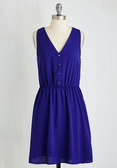 Austin Adventures Dress. In a city with as much sun as your disposition, you keep cool while exploring the sights and sounds that Keep Austin Weird in this sapphire sundress! #blue #modcloth
