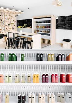 This is the new South Yarra store of Pressed Juices, a small chain of cold-pressed juice bars in Australia.