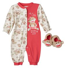 0d351faf8b Baby Girl Baby Starters Sock Monkey Coverall   Booties Set