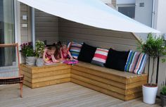 Bench for the patio Corner Bench, Cushions, Pillows, Viera, Outdoor Furniture, Outdoor Decor, Terrace, Yard, Outdoors