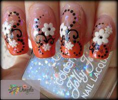 Orange french manicure & Spring flowers! #mani #orangenails #howto