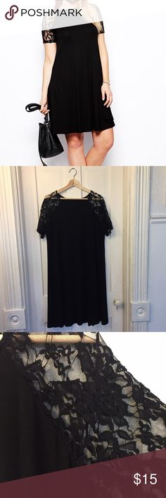 ASOS CURVE Swing Dress Lace Short Sleeves ASOS CURVE Swing Dress With Lace Raglan Short Sleeves - Black / US 16. Tag came unsown. Worn once, very flattering. Love these sleeves. Fits true to size. ASOS Curve Dresses