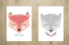 Illustrations Mister Fox et Miss Cat - Affiches visages renard et chat modernes pour enfants : Affiches, illustrations, posters par godiche