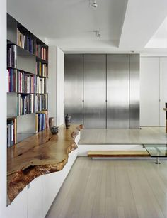 Stainless entry with natural wood shelf. NYC Loft, ideas, home, house, apartment, decor, decoration, indoor, interior, modern, room, studio.