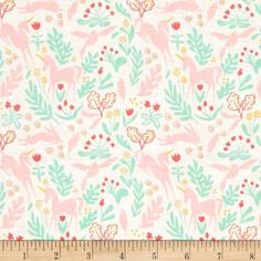 Pale Green Unicorn Folk Vintage Look Cotton Fabric Folk by the Metre dress