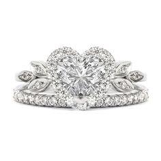 Love Blossom Heart Shaped Diamond Ring with Matching 2mm Eternity Diamond Band , Bridal Engagement Diamond Wedding Ring set - 1.5 carat by SillyShinyDiamonds on Etsy https://www.etsy.com/listing/246133123/love-blossom-heart-shaped-diamond-ring