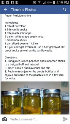 Cocktail Drinks, Alcoholic Drinks, Beverages, Cocktails, Alcohol Recipes, Drink Recipes, Cooking Recipes, Peach Pie Moonshine, Blueberry Quick Bread