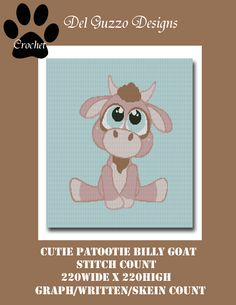 (4) Name: 'Crocheting : Cutie Patootie Billy Goat Crochet Graph