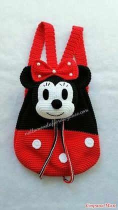 Nylon Minnie Mouse backpack, Handmade crochet backpack birthday gift, christmas gift,perfect to every girls. (Made to order) Minnie Mouse backpack Handmade crochet backpack by Crochet Mickey Mouse, Crochet Disney, Crochet Handbags, Crochet Purses, Crochet Gifts, Crochet Toys, Baby Knitting Patterns, Crochet Patterns, Minnie Mouse Backpack