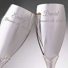 Engraved Silver Wedding Champagne Flute Set Photo