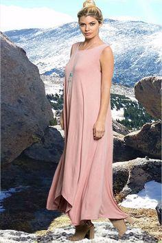 Rose High-Low Pocket Maxi Dress