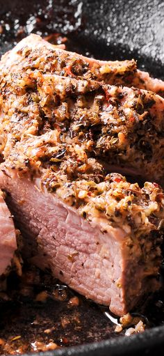 Mustard, Garlic and Herb Crusted Pork Tenderloin is roasted to perfection and is low in carbs and calories! It's a quick, healthy and easy way to prepare a pork tenderloin. Use baking sheet, cast iron pan or dutch oven! Good source of protein. Oven Roasted Pork Tenderloin, Roasted Pork Tenderloins, Pork Tenderloin Recipes, Mustard Pork Tenderloin, Pork Loin, Dutch Oven Recipes, Pork Recipes, Cooking Recipes, Lean Meat Recipes