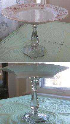 CAKE PLATE :: DIY it w/ a vintage plate & candle holder...