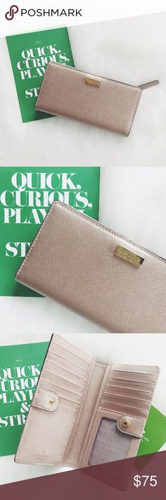 🖤 S A L E 🖤 Kate Spade Newbury Lane Slim Wallet Kate Spade Newbury Lane Slim Gold Wallet, card slots, can also put cash inside, change in the back, has a zipper, id slot, saffiano leather. Brand new.                            💖FINAL PRICE💖                     10% off 2 items or more!                             •NO TRADING                             •smoke free kate spade Bags Wallets