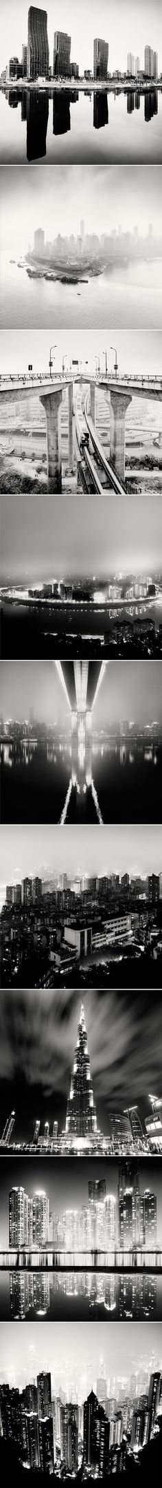 """Martin Stavars in Czestochowa, Poland) - """"City of Fog"""", Chongqing, China and """"Nightscapes"""" series. Cityscape Photography, Urban Photography, Night Photography, Color Photography, Black White Photos, Black And White Photography, Nature Pictures, Cool Pictures, We Will Rock You"""