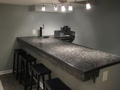 Personalized Crushed Ceramic Tile Bar Top Hangin Around The House Pinterest Tiki Bars And Countertop