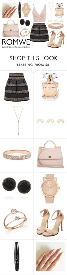"""""""Sans titre #771"""" by kawtar-el ❤ liked on Polyvore featuring Elie Saab, Ettika, Charlotte Russe, FOSSIL, Dolce&Gabbana, Dara Ettinger, Bloomingdale's and NYX"""