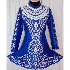 New Royal Blue And White With Pearl Detail - Kreations by Kerry Irish Dance Dress