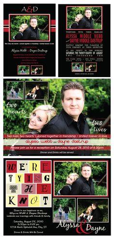 Picture Wedding Invitations - Red & Black Theme