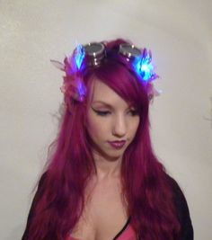 "LED ""Clockwork Fairy"" Fuschia Steampunk Hair Clip- Circus, Fantasy, Tribal, Fairy, Whimsical, Wedding, Renaissance, Rave, Burning Man"