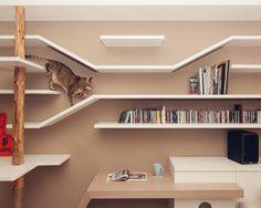 La estantería que todo gato pediría si pudiera hablar • Shelves made for a cat.