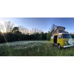 Liked on InstaGram: Those summer nights. @cristinagrams and her van in a field of windflowers. #vanlifediaries to rest right here