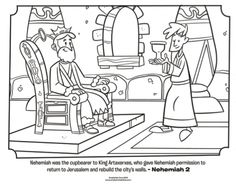 Kids coloring page from What's in the Bible? featuring Nehemiah and King Artaxerxes from Nehemiah 2. Volume 7: Exile and Return!