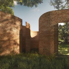 Madison House by Thomas Phifer and Partners. Frameless windows will be set forward from the brickwork and finished in mirrored glass, preventing views into rooms from the surrounding garden, while circular skylights will be dotted intermittently across the roof.