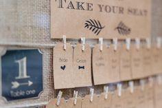 DIY Sitzplan / Tischplan bei der Hochzeit / Hochzeitsfeier mit Kraftpapier und Jute im Vintage-Stil. Foto: Frau Vau