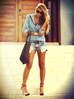 I would wear darker shorts & flip flops. No heels for this girl.