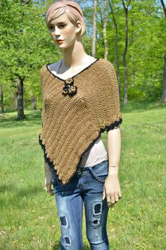 Crochet Poncho Toasted Cover-up Crochet by CasadeAngelaCrochet
