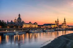 Dresden by XpReS sky city sunset street river travel blue night sun light clouds architecture bridge summer dresden g Canon Eos 100d, Lightroom, Paris Skyline, New York Skyline, Water Reflections, Cities In Europe, Architecture Photo, Urban Photography, Photography Tips