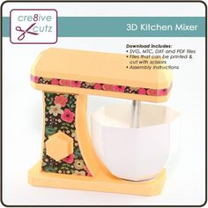 Kitchen Mixer - 3D Paper Craft Project – Cre8ive Cutz Kitchen Mixer, Cute Kitchen, Kitchen Ideas, 3d Paper Crafts, Paper Crafting, Pocket Scrapbooking, 3d Home, Home Baking, Printable Paper