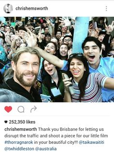 OKAY SO IM FREAKING OUT BECAUSE FUCKEN THOR AND LOKI (AKA CHRIS AND TOM) ARE IN BRISBANE SHOOTING FOR THOR RAGNAROK AND I REALLY WANNA GO BECAUSE OH GOD I WONT EVER FORGIVE MYSELF IF I DONT.                                                                                                                                                                      Pinterest: @meghnaprasad4